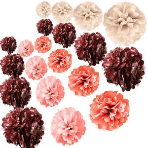 20-Pieces-Or-Rose-Decorations-de-Fete-Metallic-Foil-et-papier-tissu-pompons