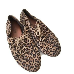 Lucky Brand Leopard Print Lace Up Suede