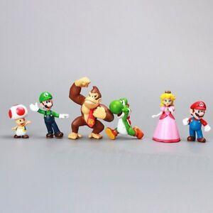 "Luigi Peach Toad Donkey Kong 2/"" Figures Set Of 6 Yoshi Super Mario"