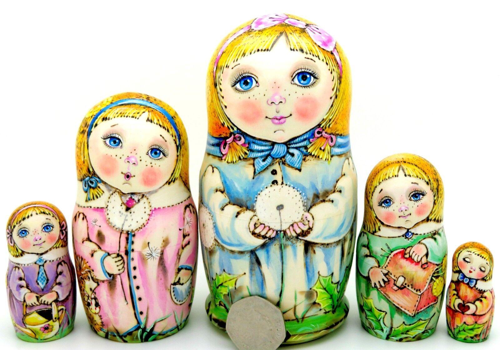 Nidification poupées Russes Matryoshka Babushka 5 pyrogravure filles Chmeleva