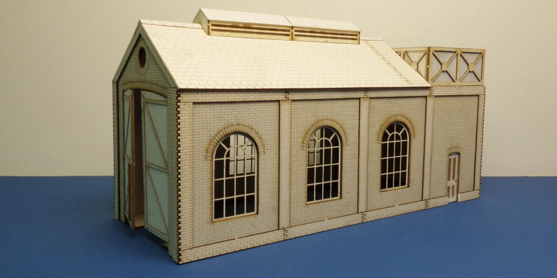 O gauge (7 mm) small engine shed with water tank - LCC B 70-11
