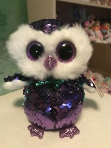 "bfaaec83a62 Ty FLIPPABLES  MOONLIGHT -Violet Teal Sequined Owl 6"" Beanie Boo ..."