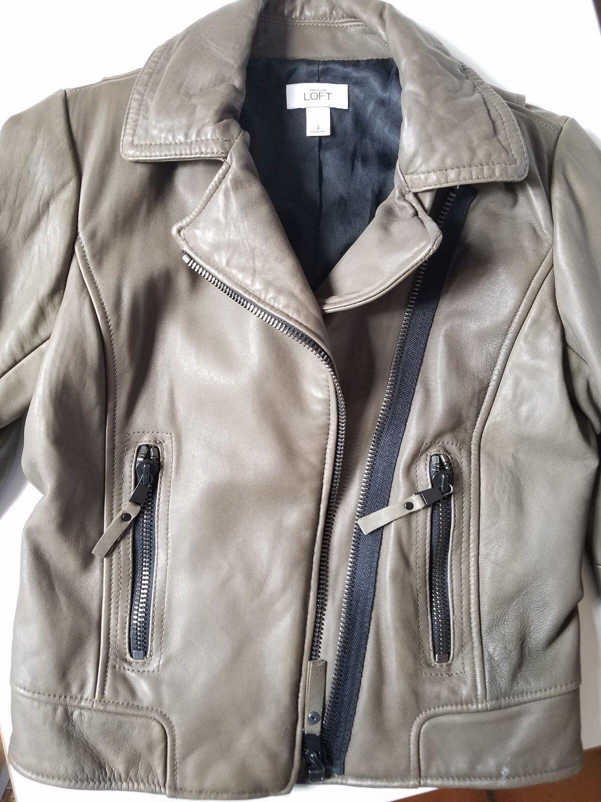 Womens Ann Taylor Loft Size 4 Asymmetrical Asymmetrical Asymmetrical Zip Leather Zippers Brown 0e2020