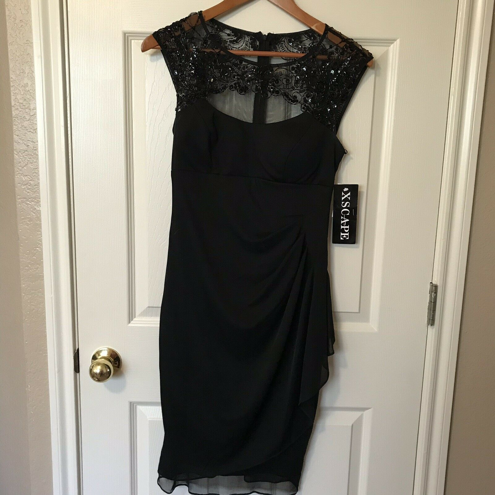 Xscape By Joanna Chen schwarz Bridesmaids Dress Lace Top back SZ 6 J