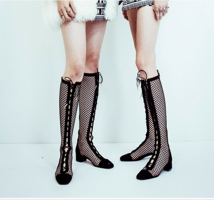 Womens Hollow Out Ankle Knee High Boots Chunky Heel Leather Mesh shoes Size 8