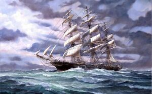 HD-Canvas-Print-Sailboat-Oil-painting-Picture-Printed-on-canvas-16X24-Inch-P019
