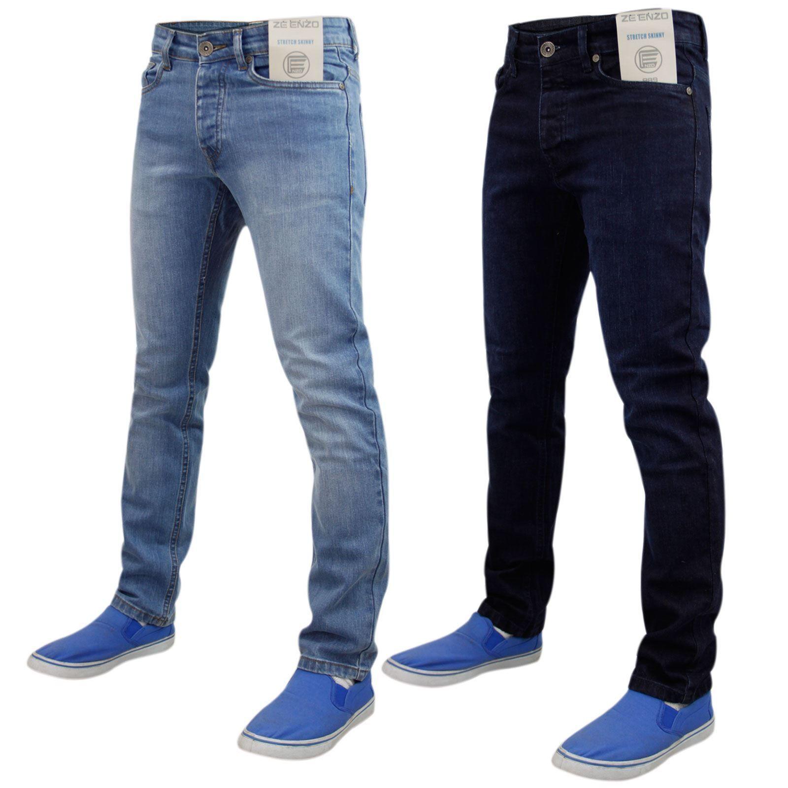 plus récent comment acheter sensation de confort Détails sur Nouveau Homme Enzo Délavé Jambe Stretch Denim Jeans SKINNY SLIM  Pantalon Pantalons- afficher le titre d'origine