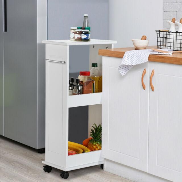 Narrow Slimline Rolling Cart Storage Shelf Bathroom Kitchen Space Saver  White
