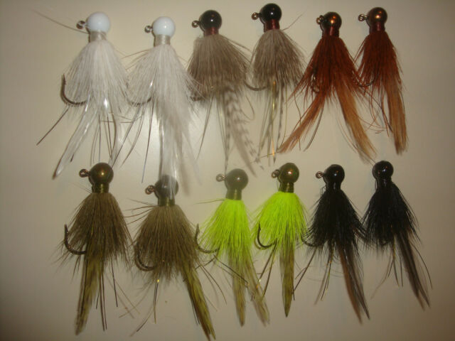 12 Walleye Trout And Bass Bucktail Jigs White 1//2 Oz