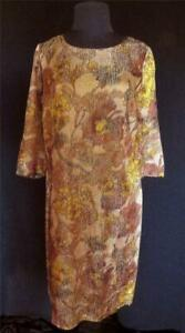 RARE-FRENCH-VINTAGE-1960-039-S-WOVEN-SILK-METALLIC-MUTED-FLORAL-DRESS-SIZE-12