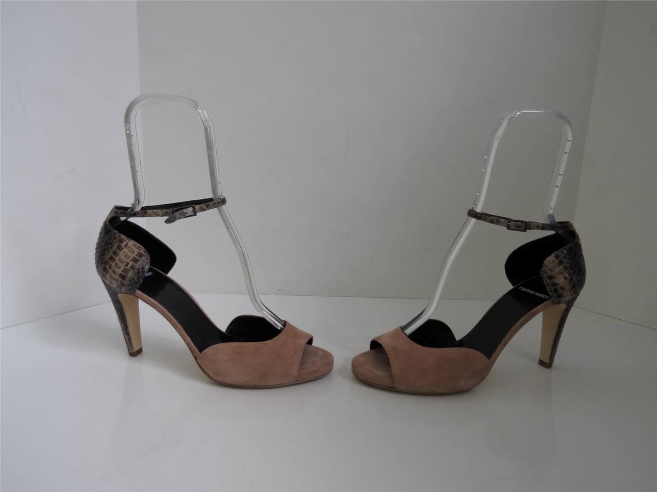 Pierre Hardy Beige Suede Open Toe Schuhes w/ Python Heel/Pumps Sz 40.5