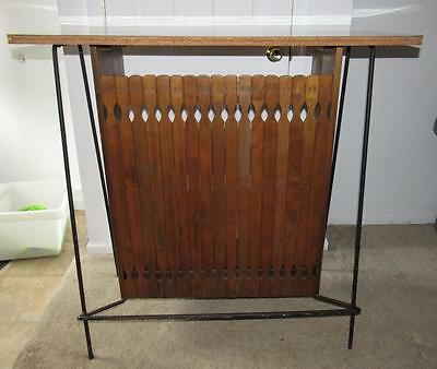 Mid-Century Modern ARTHUR UMANOFF Wood & Wrought Iron Slat Bar Vintage Eames Era