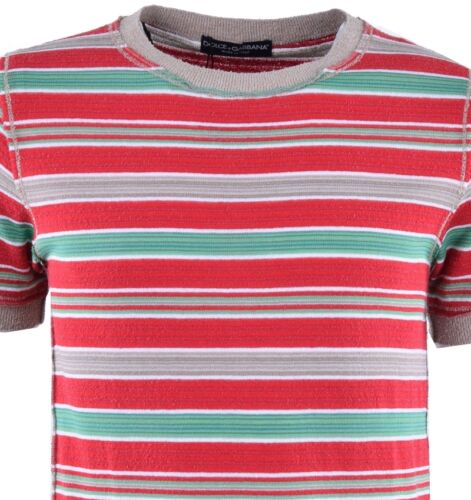 DOLCE /& GABBANA Knitted T-Shirt with Multicolored Stripes Cotton Red 03659