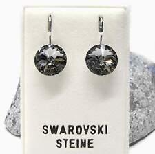 Neu OHRHÄNGER 10mm SWAROVSKI STEINE black diamond/schwarz-grau OHRRINGE Rivoli