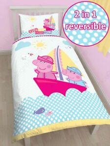 PEPPA PIG NAUTICAL SINGLE DUVET COVER + MATCHING 54 ...
