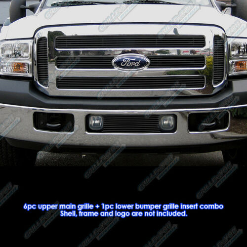 Fits 05-07 Ford F250//F350//Excursion Black Billet Grille Combo