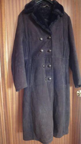 a in donna marrone grandezza di naturale pelle Cappotto 12 vintage montone H0w7EE
