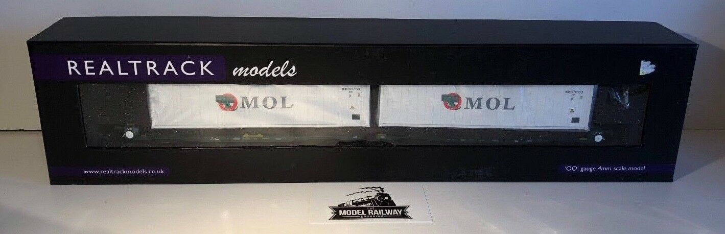 REALTRACK modelloS 00 GAUGE  FLA TWIN CONTAINER FREIGHT WAGONS MOL  scatolaED RARE