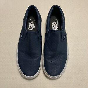 Difuminar pastel Derecho  Tenis Vans De Piel Azul Marino Sin Cordones Moda Zapatos para hombre 7.5  mujeres 9 perforado Asher | eBay