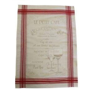 French Kitchen Dish Tea Towel Jacquard Petit Cafe 100 Cotton Made