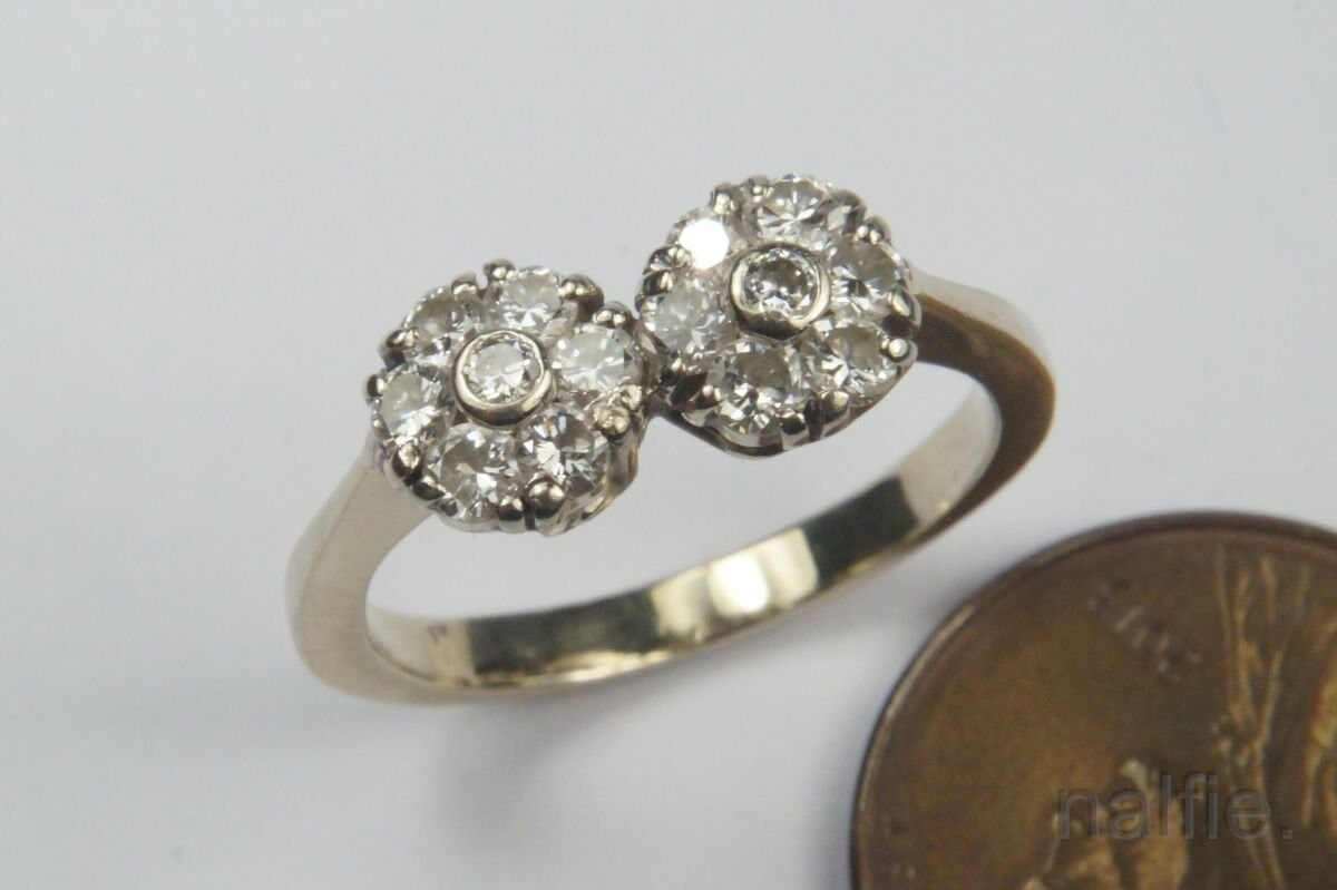VINTAGE ENGLISH 18K gold DIAMOND DOUBLE DAISY RING c1960's