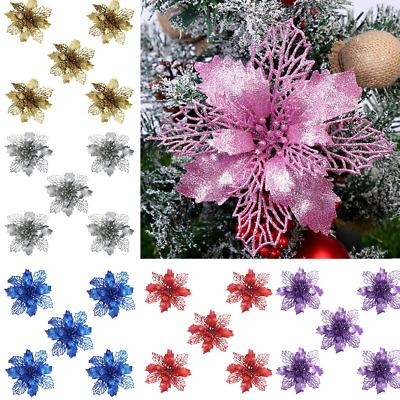 2020 NEW 5Pc Glitter Christmas Flower Tree Hanging Ornaments Festival Xmas Decor