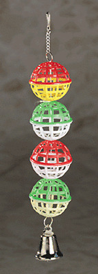 "Plastic lattice balls with bell finch parakeet cockatiel bird toy,1 1/2""W x 9""L"