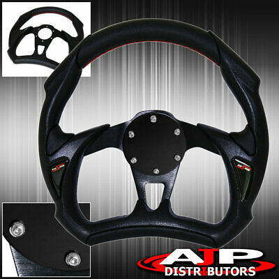 Universal 320MM 6 Bolt Hole PVC Leather Silver Black Steering Wheel JDM Horn Delete Plate Cover Godsnow Logo Upgrade Replacement