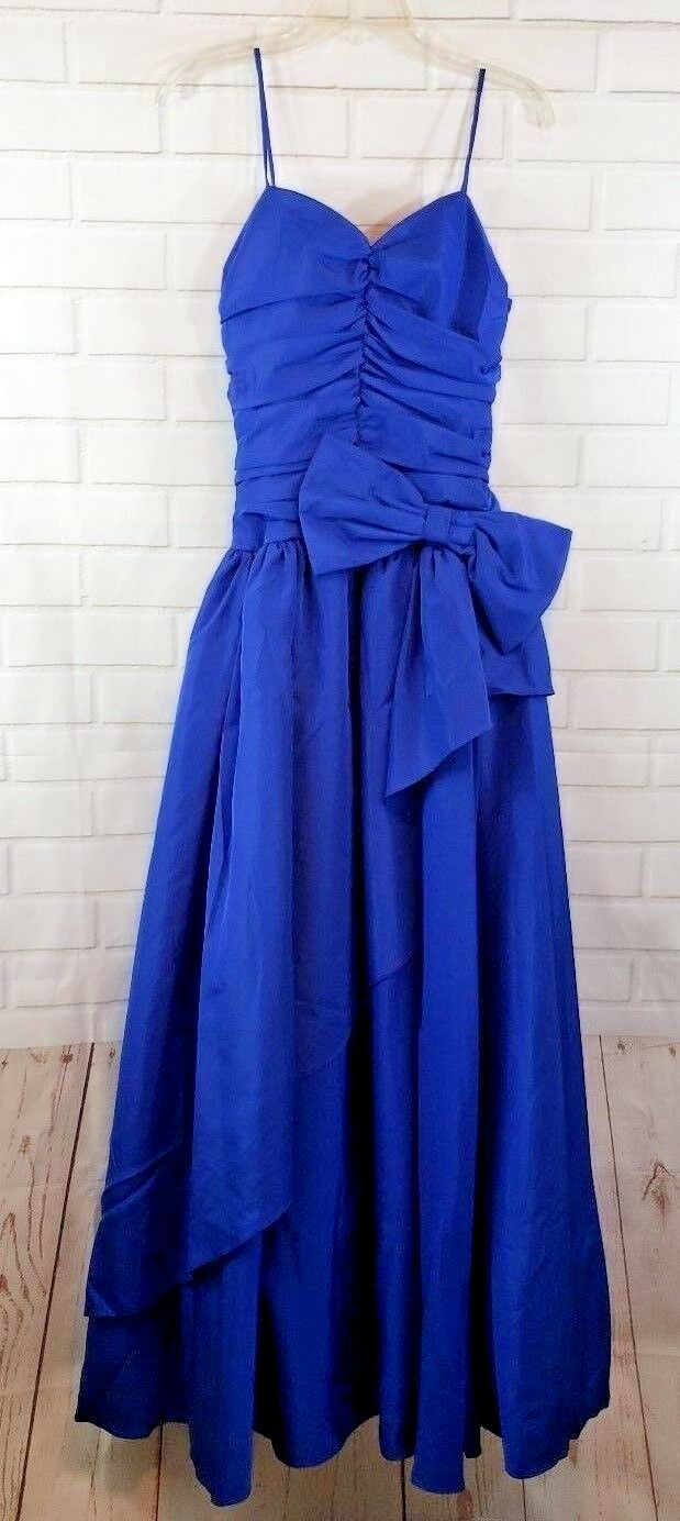 1980's Vintage bluee Ruffle Tiered Dress New Tags Sz XSmall Long Big Bow Lined
