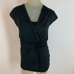 Banana-republic-woman-shirt-top-tunic-size-small-black-silk-Knit