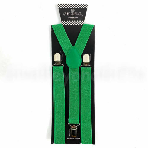 Suspender and Bow Tie Adults Men Emerald Green Clovers Formal Wear Accessories