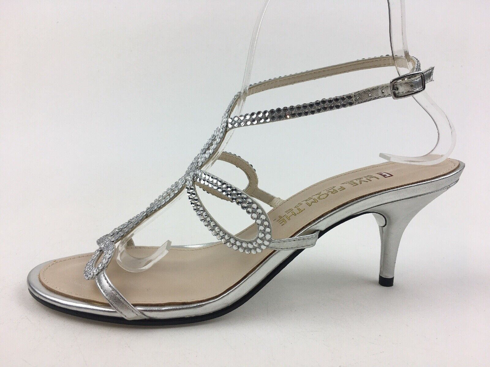 E  Live From the Red Carpet Kelli Womens Sandals Size 8.5 B Silver Metallic 2552