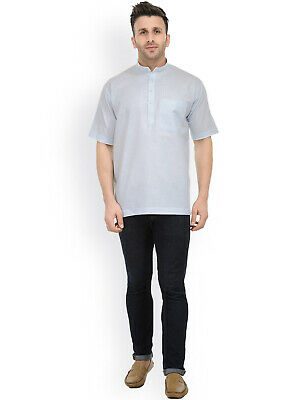 Indian 100/% Cotton Check print Black /& White Color Man/'s Kurta Shirt Half Sleeves Plus Size loose fit