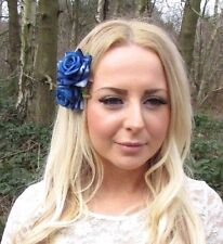 2x Blue Rose Flower Hair Clips Fascinator Bridesmaid 1950s Rockabilly Slide 2530