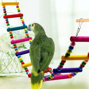 Wooden-Hanging-Pet-Bird-Parrot-Ladder-Macaw-Cage-Swing-Shelf-Bites-Play-Toys-New