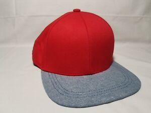 Divided H M Red Blueish Gray Cotton Baseball Hat Snapback Cap One ... 6bdfe81102b
