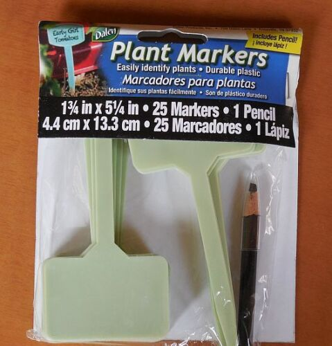 "rose, iris 25 Durable Plastic 5/"" PLANT MARKERS w PEN"
