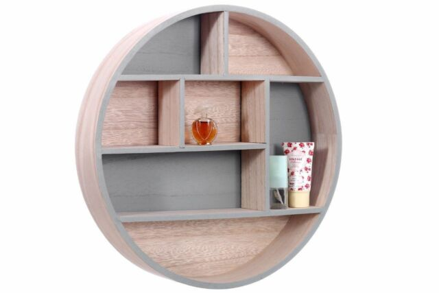 New Round Wooden Display Wall Hanging Storage Unit Shelves Cubes Home Decoration