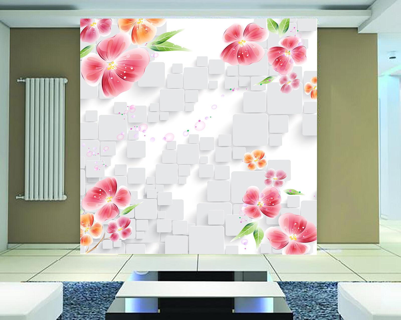 3D Weiße Fliesen, Blaumen 0392 Fotapeten Wandbild Fototapete BildTapete FamilieDE
