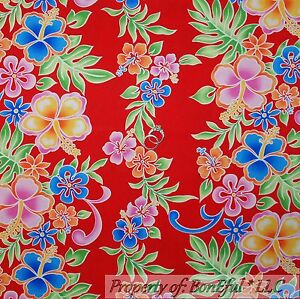 BonEful-Fabric-FQ-Cotton-Quilt-Red-PINK-Rainbow-Hawaii-Tropical-Hibiscus-Flower