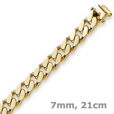 7mm Armband Armkette Panzerarmband, 585 Gold Gelbgold, 21cm, Herren, Goldarmband