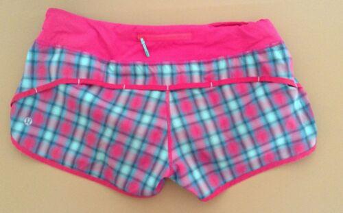Lululemon Speed Shorts Senorita Pink Plaid Size 8