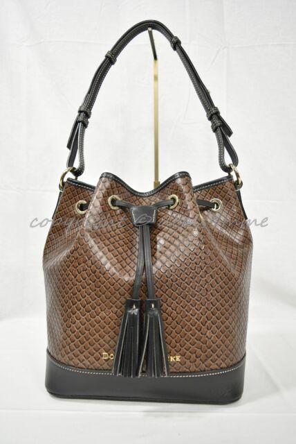 f6d6dc8503 Dooney & Bourke Taupe Embossed Leather Drawstring Shoulder Tote Bag Ea038