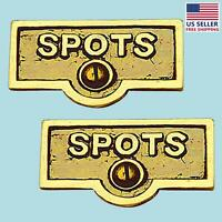 2 Switch Plate Tags Spots Name Signs Labels Lacquered Brass | Renovator's Supply on sale