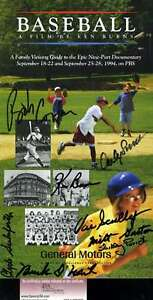 Vin-Scully-Jsa-Signed-By-8-Ken-Burns-Baseball-Booklet-Authentic-Autograph