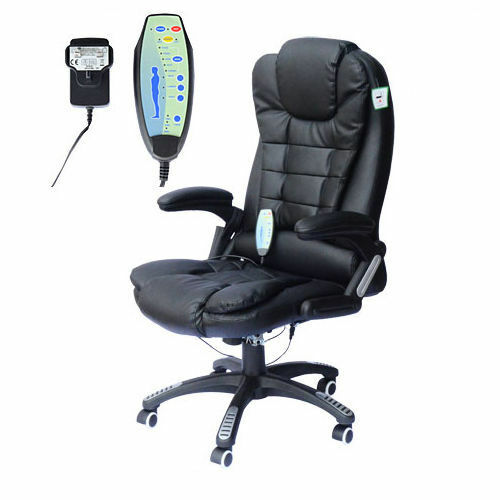 HOMCOM Office Computer Chair Heat Massage 6 Points Faux Leather Recline
