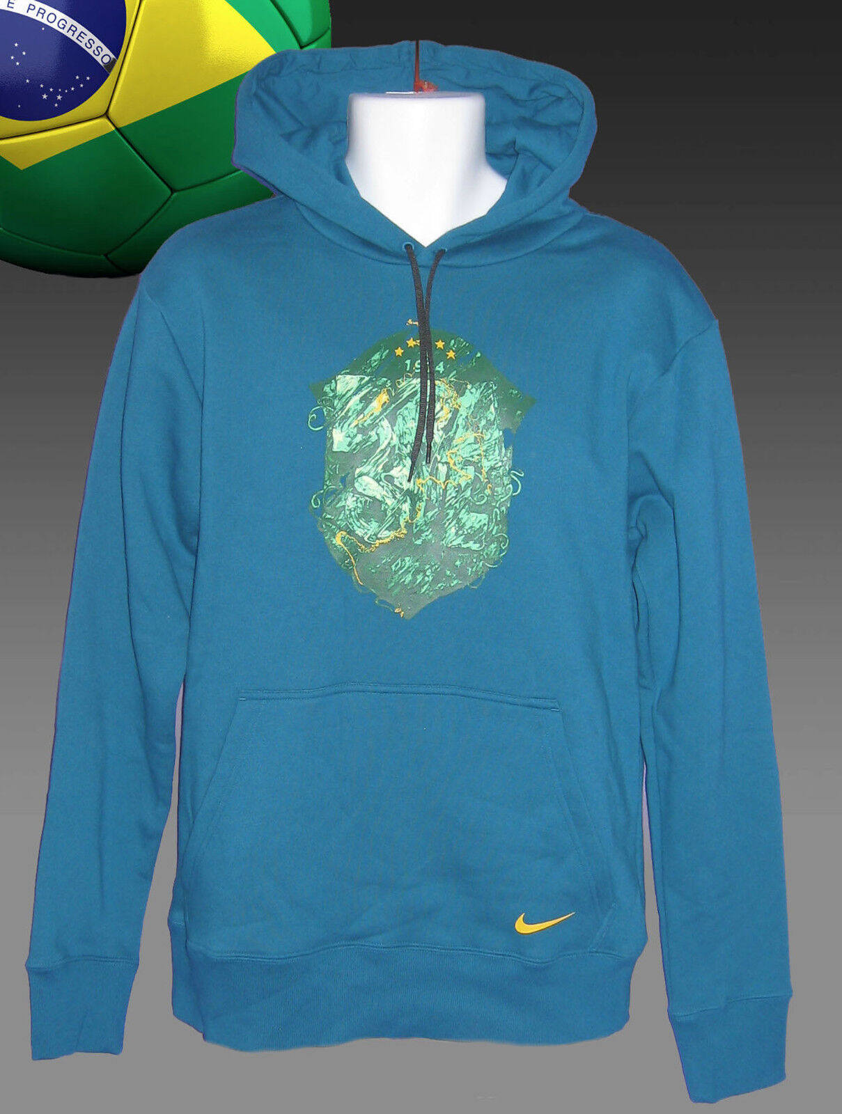 New NIKE  BRAZIL BRASIL Football    Vintage Cotton Hoodie Petrol Blau Medium | Schönes Aussehen  146f61