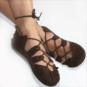 Bundschuhe-Leder-Braun-Schuhe-Sandalen-Larp-Mittelalter-Wikinger-Reenactment-Goa