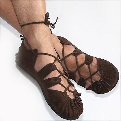 Bundschuhe Leder Braun Schuhe Sandalen Larp Mittelalter Wikinger Reenactment Goa   eBay