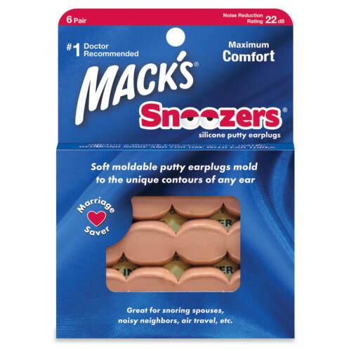 Mack/'s snoozers stucco in silicone 22db 6 Paia Tappi per le orecchie per dormire da viaggio lavoro